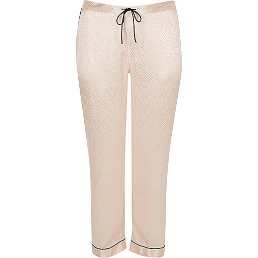 Plus cream satin lace pyjama trousers