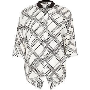 White grid print popper shirt