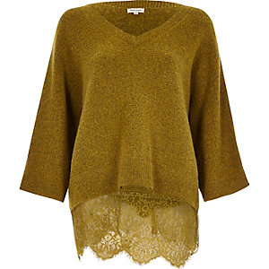 Mustard lace hem V-neck jumper