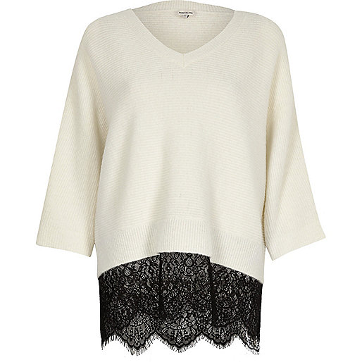 Cream and black lace hem V-neck sweater