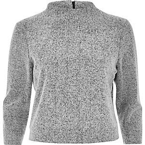 Grey knit high neck grazer top