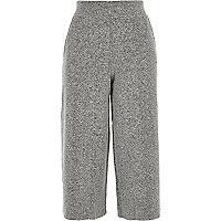 Pantalon large court en maille grise