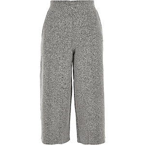 Grey knit cropped culottes