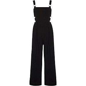 Black pinstripe eyelet overalls