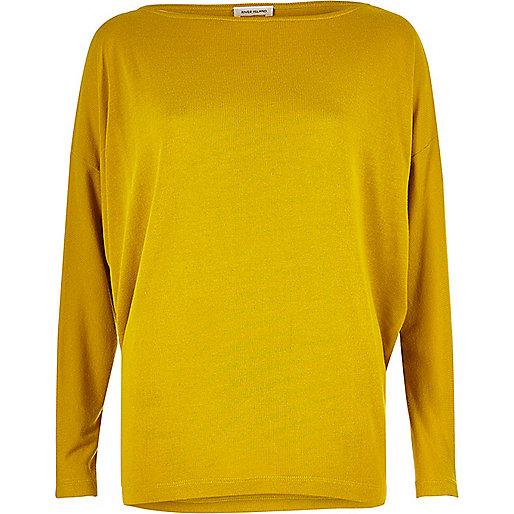 Dark yellow batwing top