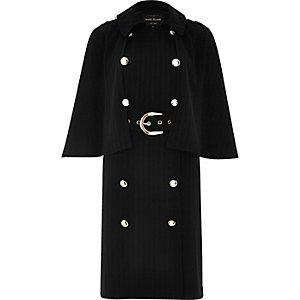 Black double-breasted cape coat