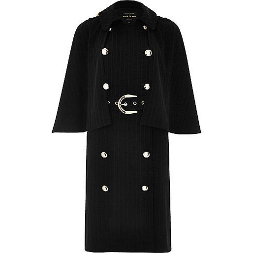 Manteau croisé noir style cape