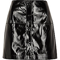 Black patent buttoned mini skirt