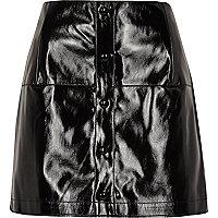 Black patent buttoned mini skirt
