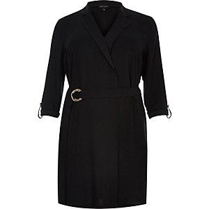 Plus black tux shirt dress
