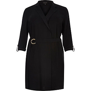 Plus black tux shirt dress