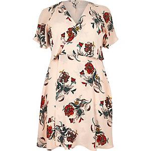 RI Plus pink floral print frilly mini dress