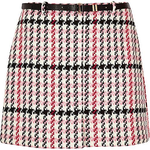 Mini-jupe Plus à carreaux rose avec ceinture