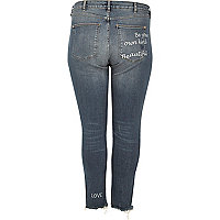 Plus medium blue Alannah slogan jeans