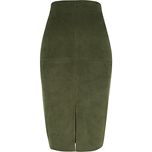 Khaki faux suede pencil skirt