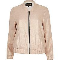 Light pink metallic bomber jacket