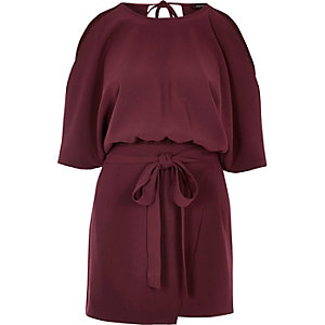Burgundy cold shoulder playsuit