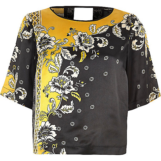Yellow and black short sleeved satin top