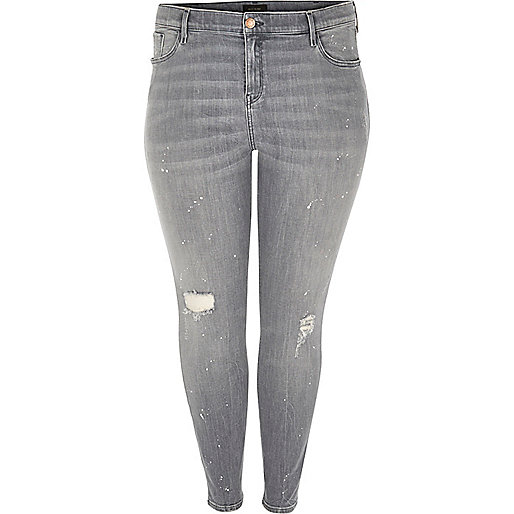 Plus – Amelie – Superskinny Jeans in grauer Waschung