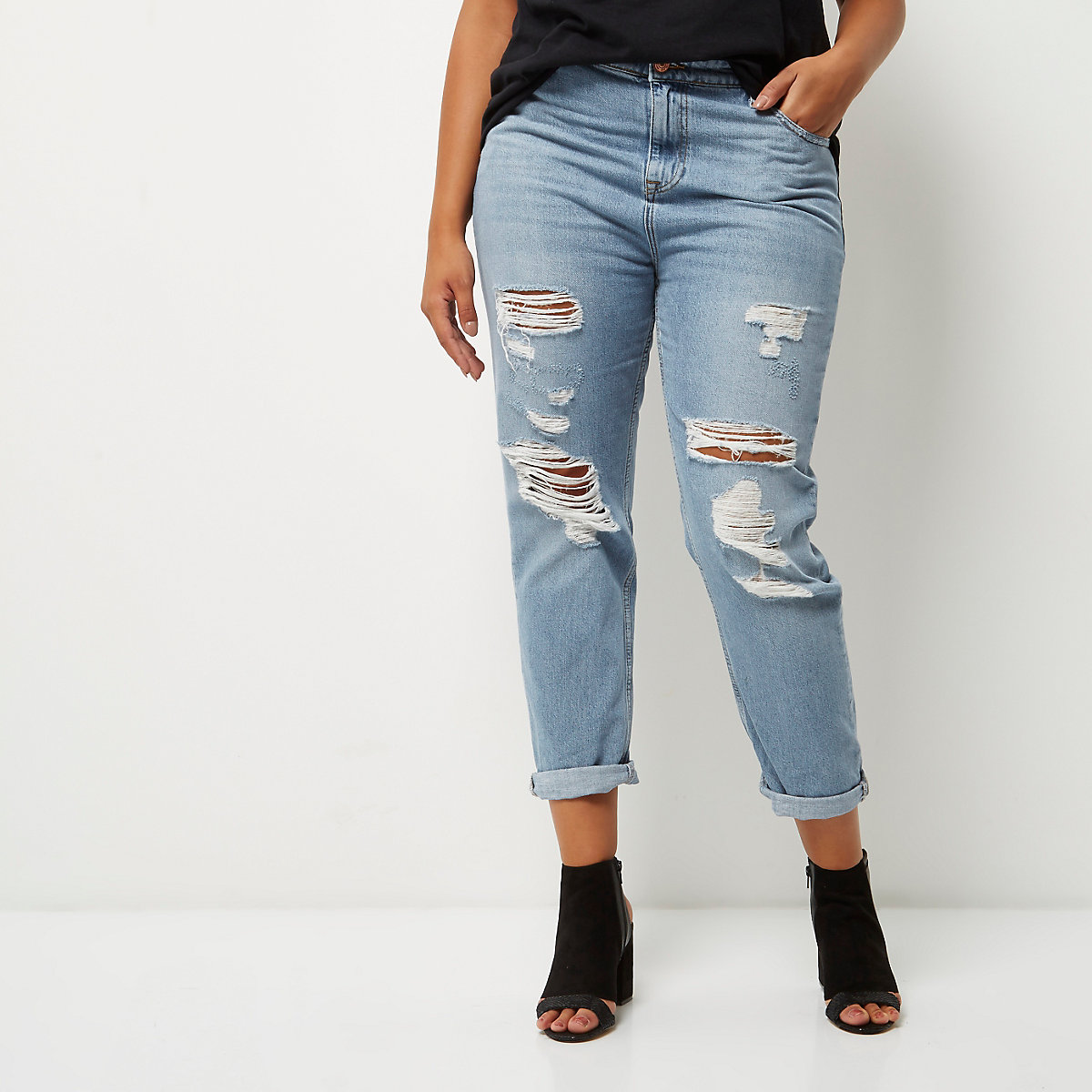 c0a952e58e Plus light wash ripped mom jeans - Mom Jeans - Jeans - women