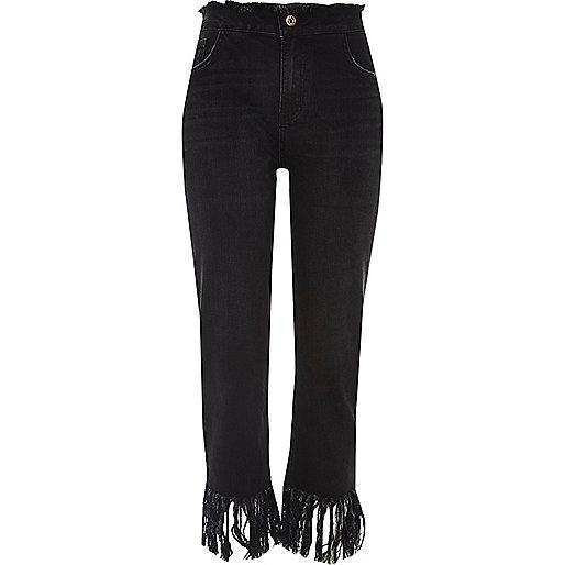 Black frayed cropped boyfriend jeans