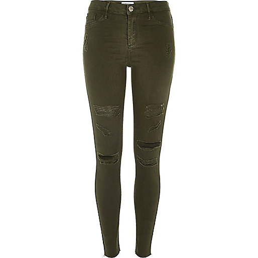Khaki ripped Molly jeggings