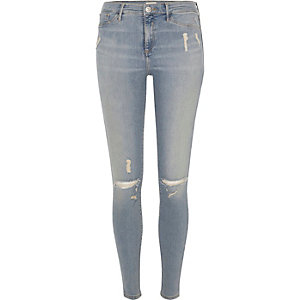 Molly light blue wash ripped jegging