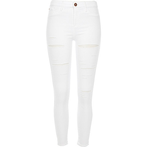 Molly – Weiße Jeggings im Used-Look