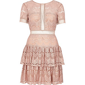 Nude frill lace dress