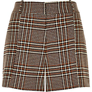 Red checked woven shorts