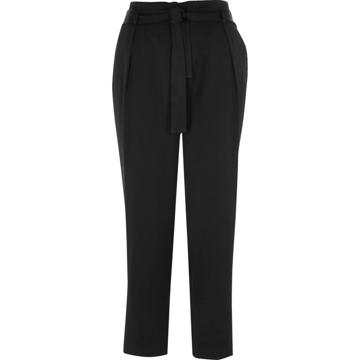 Black soft tie tapered trousers