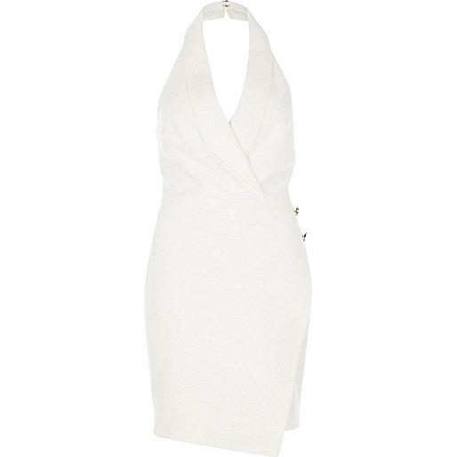 Cream wrap tux dress