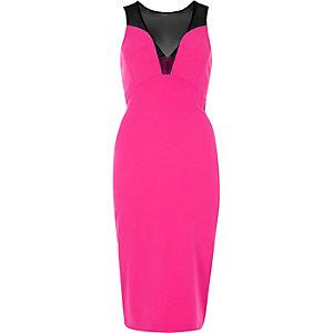 Pink mesh panel bodycon dress