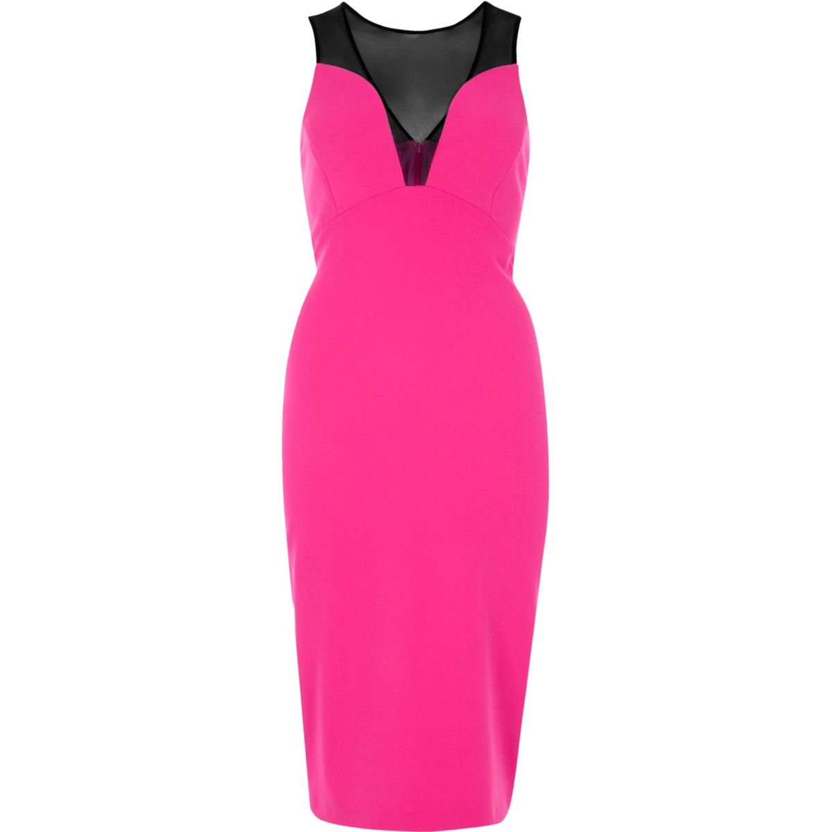 Pink mesh panel bodycon dress