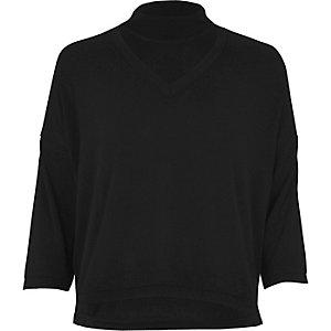 Black boxy choker top