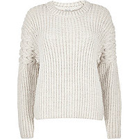 Cream chunky cable knit sleeve jumper