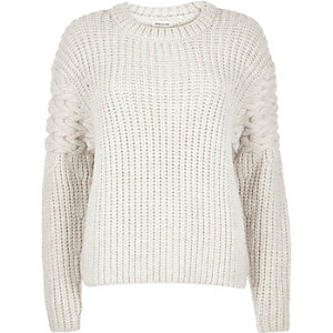 Cream chunky cable knit sleeve sweater