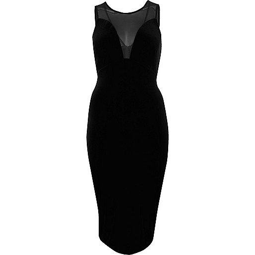Black mesh panel bodycon dress