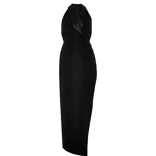 Black tuxedo maxi dress