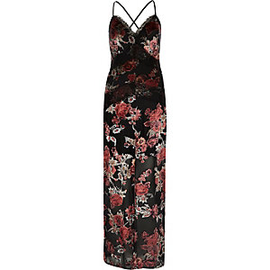 Black rose lace panel maxi dress