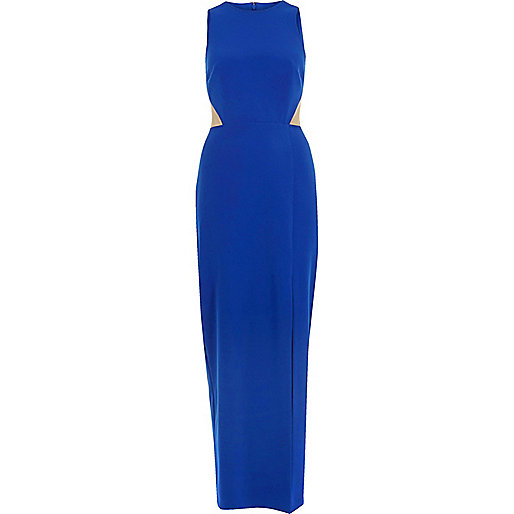 Bright blue mesh panel maxi dress