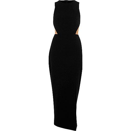 Black mesh panel maxi dress