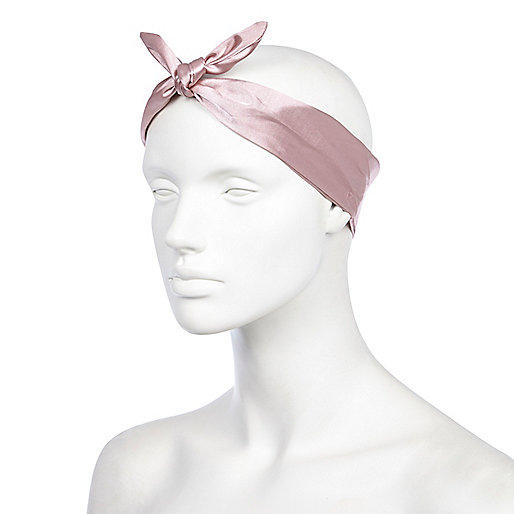 Pink satin bandana