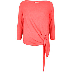 Bright pink tied top