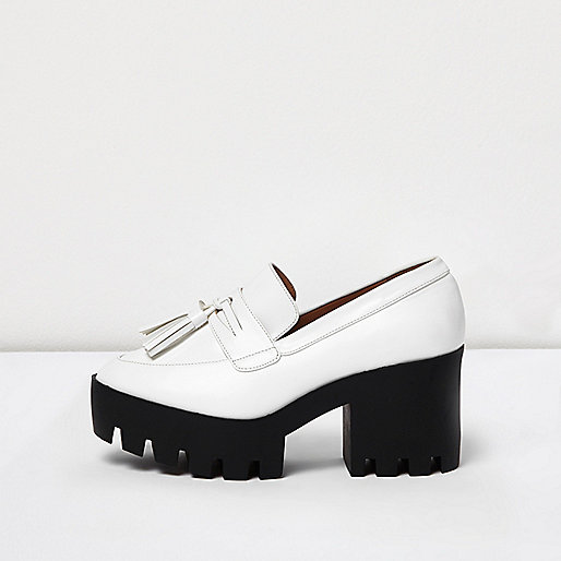 White chunky heeled loafers
