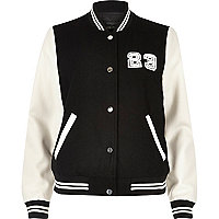 Black and white varsity bomber jacket