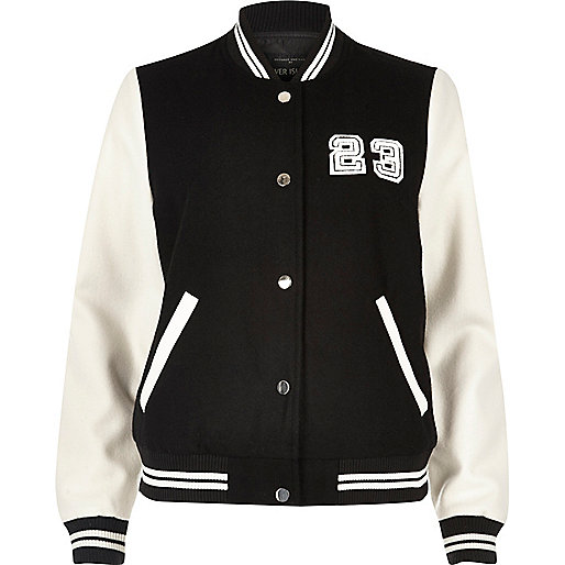 Black and white varsity bomber jacket