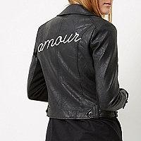 Black 'amour' embroidered biker jacket
