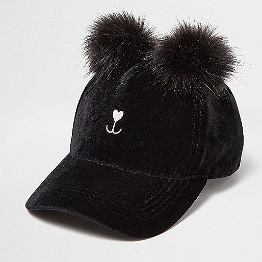 Casquette chat noire à pompons