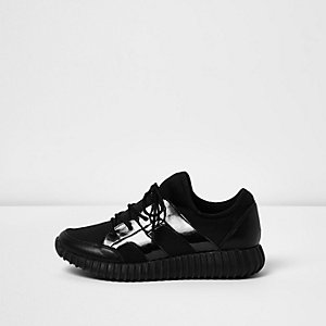 Black ribbed patent panel trainers